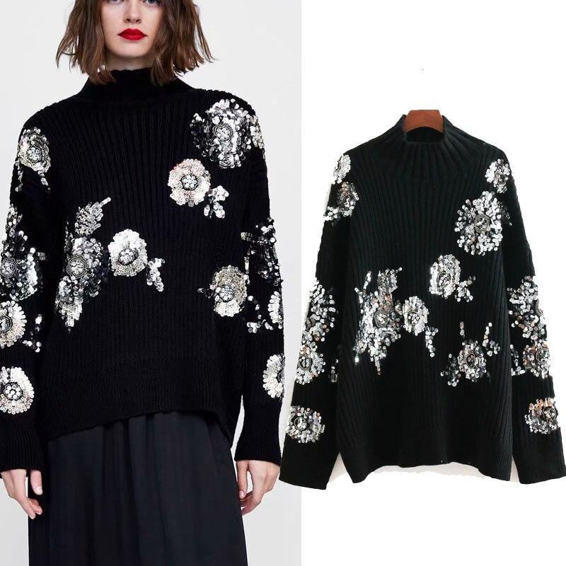 HOT-vente femmes paillettes et perles haute couture tricoté pull dames noir col haut pull haut