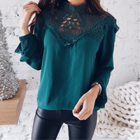 Fashion Women Blouses Shirts Long Sleeve Patchwork Lace Hollow Out Sexy Tops Shirt Elegant Office Shirts