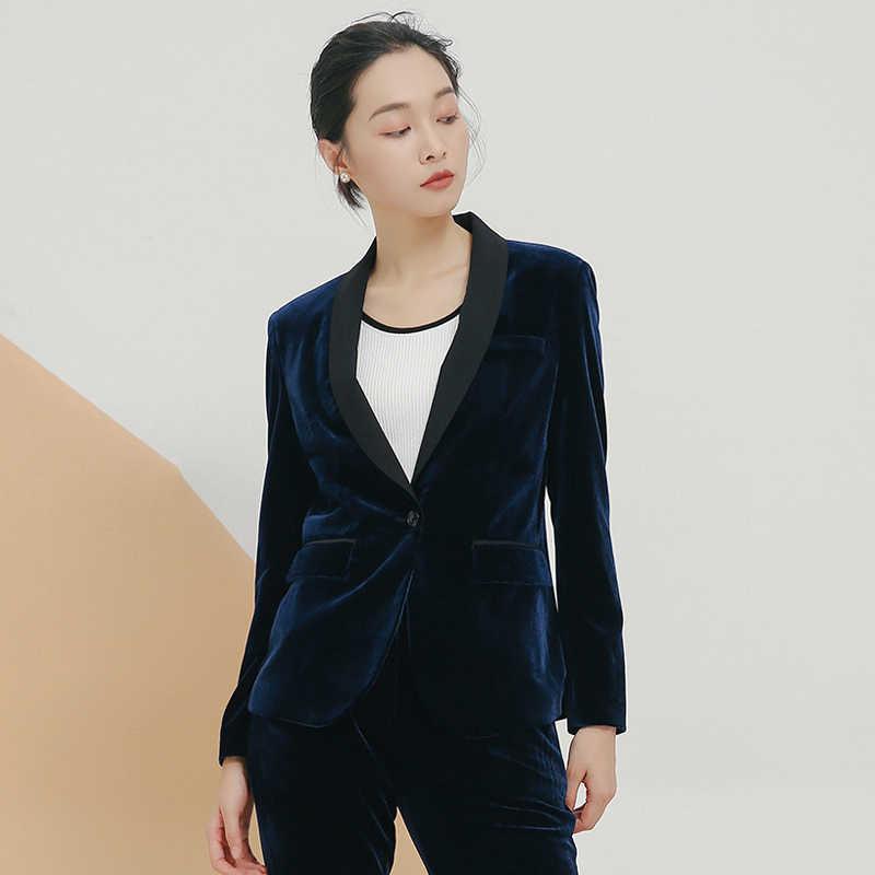 df886fedeaf1 ... Spring autumn Velvet Blazer Women Slim Long Sleeve ladies Blazer  feminino OL Formal Work Small Suit ...