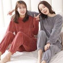Осенне-зимние фланелевые женские пижамные комплекты, одежда для сна, домашняя одежда, Толстая теплая Коралловая бархатная женская ночная рубашка, костюм, пижама
