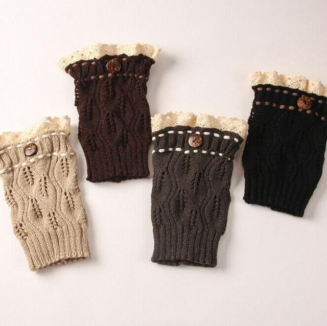 New Women Knit Boot Cuffs Leaf Pattern Lace Boot Socks Buttons Leg