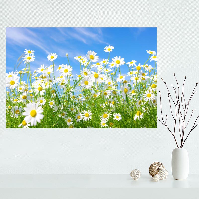 Nice Flower Field Poster Custom Satin Poster Print Cloth Fabric Wall Poster Print Silk Fabric Print Poster