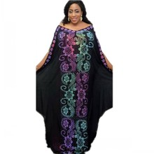African-Dresses Robe Women Dashiki Bazin for Diamond Broder Riche Sexy Slim Evening