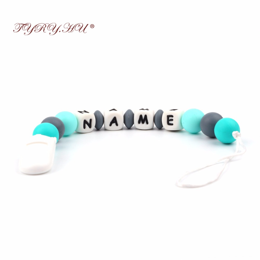 TYRY.HU Handmade Personalized Any Name Silicone Teething Pacifier Clip Holder Baby Carrier Teething Accessory Chew Teether Toys