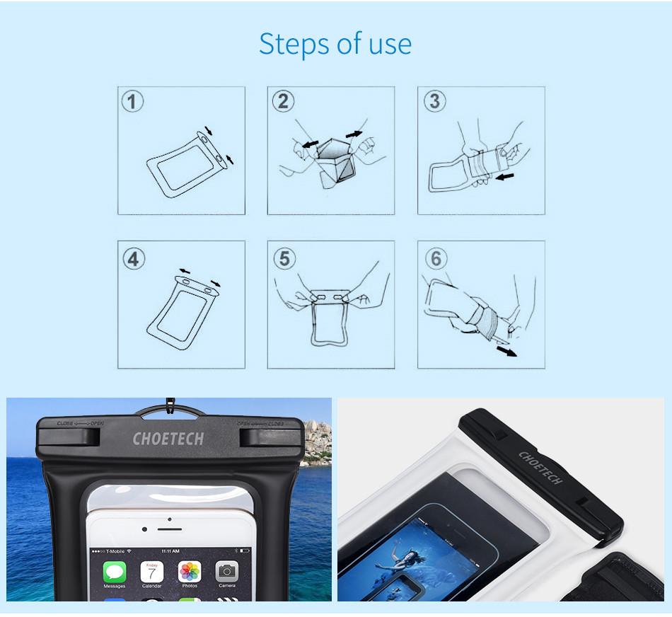Choetech nadmuchiwane worki wodoodporne etui telefon komórkowy 30 m podwodne pralnia case pokrywa dla iphone 5 5s 6 6s plus/samsung/lg/xiaomi 12