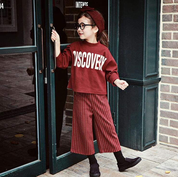 Children Clothing Baby Kids Clothing Sets Stripe Girls Fashion Leisure Suits Girls Striped Pants Suit Kids Clothes