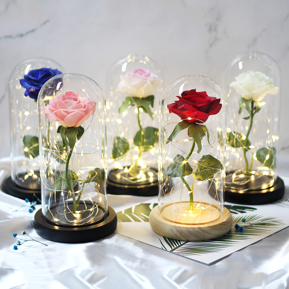 Red Rose Led-Light Glass Dome The-Beast Beauty Mother's-Day-Gift Party For Wedding Gold-Plated