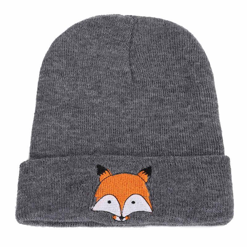 2018 Nova Moda Fox Bordados Gorros De Tricô Chapéu Chapéu Do Inverno de Alta Qualidade Homem Mulher Cap Boy Girl Skullies Algodão Macio lã de Esqui