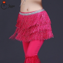 belly dancing scarf 2017 New Arrivals Women Belly Dance Clothing Accessories Tassel Belts Hip Scarf Sequins