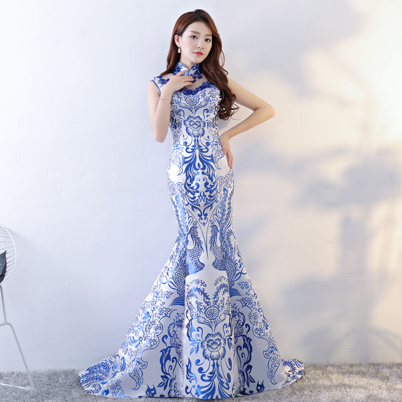Chinese Style Wedding Long Cheongsam Retro Sexy Slim Party Evening Dress Marriage Gown Qipao Fashion Lady