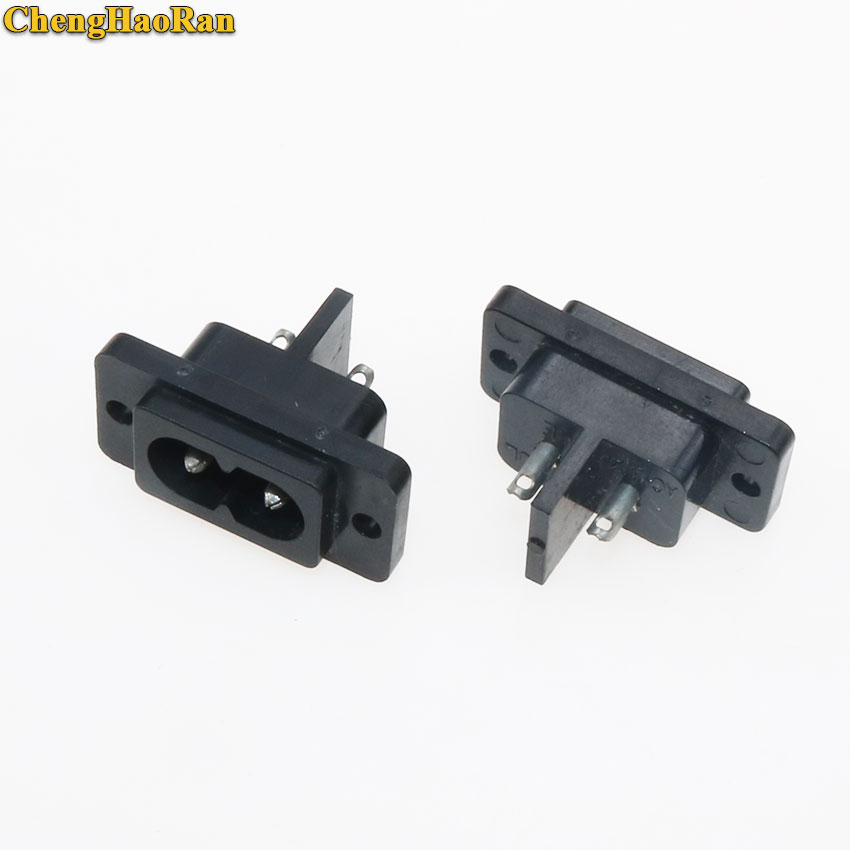 ChengHaoRan 2pcs 2Pin AC Power Socket Connector IEC 320 C8 Replacement AC Electrical Sockets