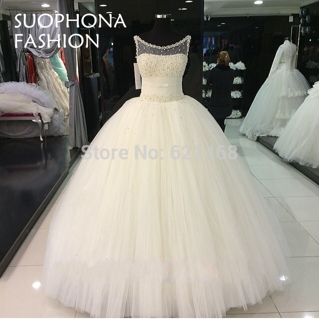 Aliexpress.com : Buy Gorgeous Vestido de renda Pearls Beaded Puffy ...