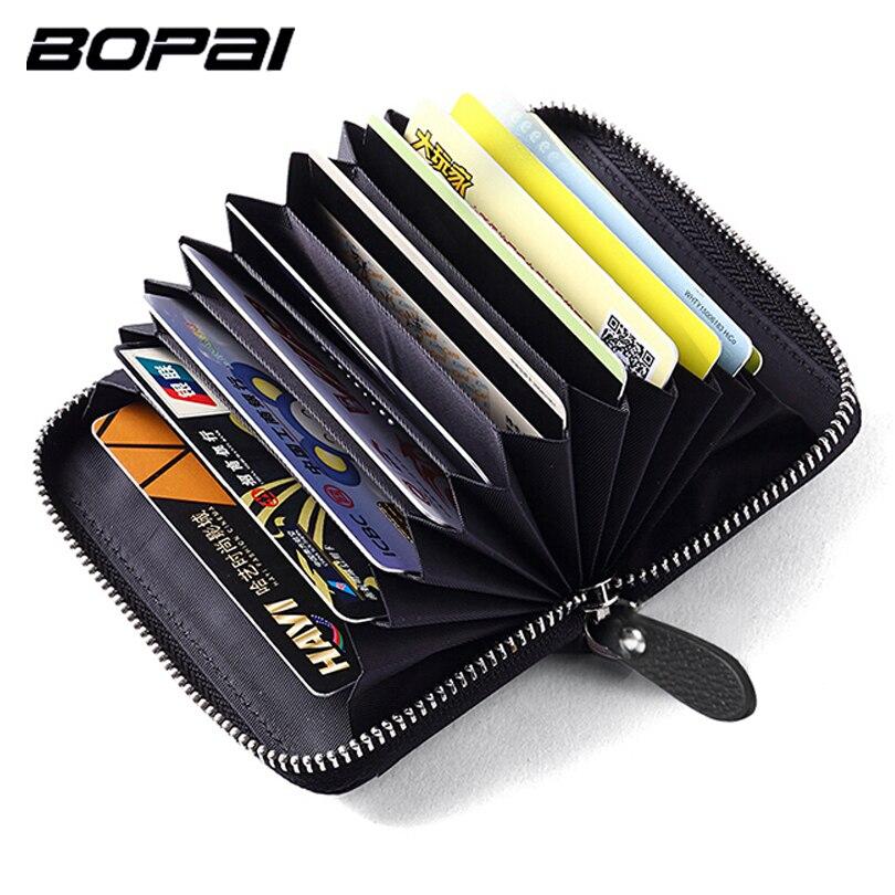 BOPAI Brand Genuine Leather Credit Card Holder Wallet For