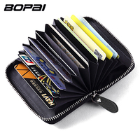 BOPAI Brand Genuine Leather Credit Card Holder Wallet For Men Women ID Card Case Bank Credit