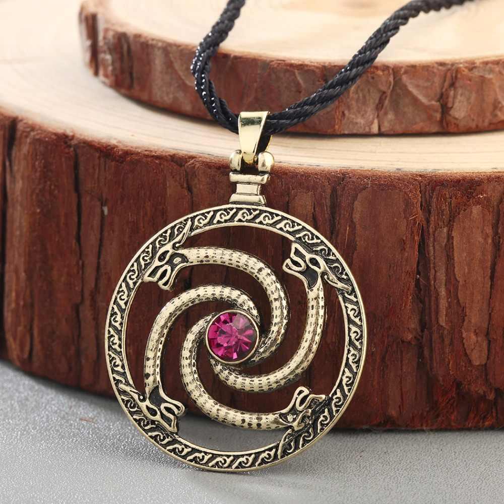 CHENGXUN Norse viking smoki wisiorek naszyjnik mężczyźni czerwony kamień Amulet słowiański starożytny zwierząt runy oryginalna biżuteria talizman