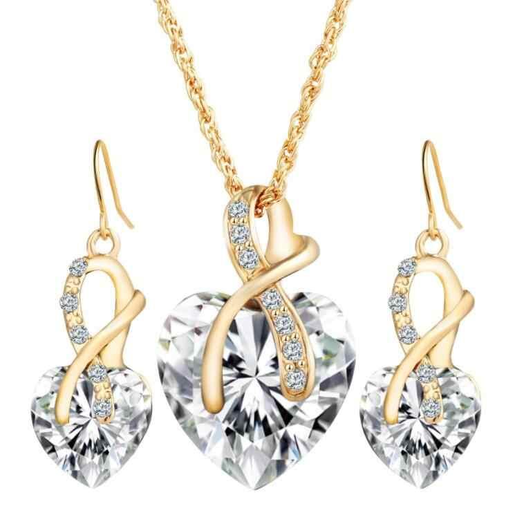 Top Áo Pha Lê Màu Vàng Bộ Đồ Trang Sức Cho Phụ Nữ Tim Bông Tai Vòng Cổ Thiết Lập Rhinestone Hollow Bridal Phụ Kiện Đám Cưới