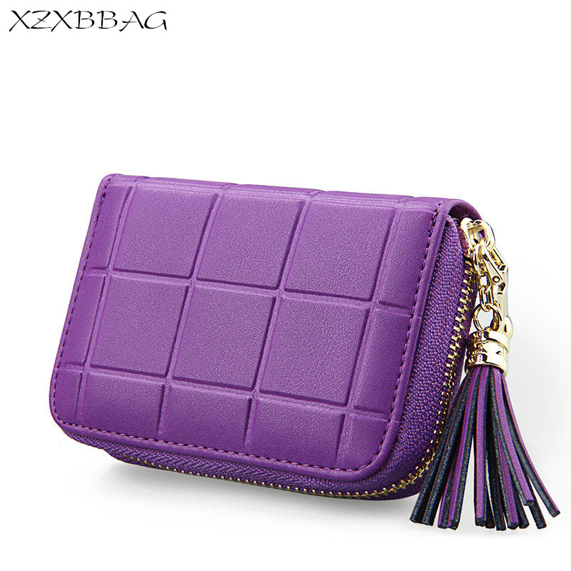 XZXBBAG Women Genuine Cowhide Leather Expandable Tassel Wallets Female Zipper Multiple Card Holder Coin Purse Fashion Pouch RFID