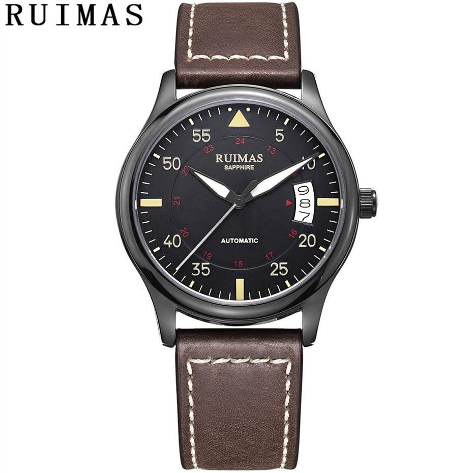 Для мужчин Мода кожаный ремешок часы Автоматические бизнес механические часы мужские наручные RUIMAS Erkek коль Saati MIYOTA 8215