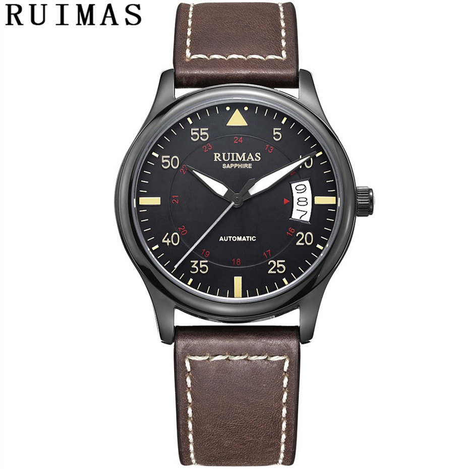 Homens Pulseira de Couro Moda Relógio Automático Relógios Mecânicos Negócios Relógio De Luxo Masculino relógios de Pulso RUIMAS Erkek Kol Saati NH36