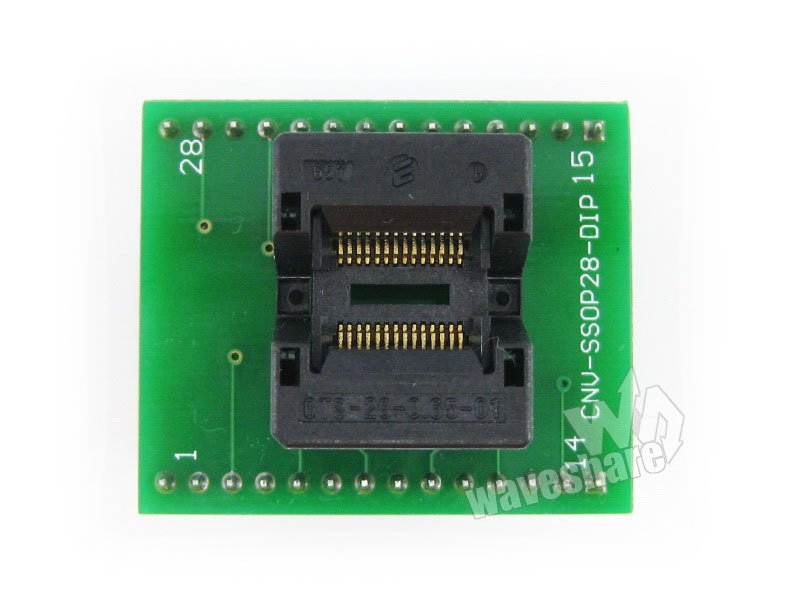 module Waveshare SSOP28 TO DIP28 (A) TSSOP28 Enplas IC Test Socket Programming Adapter 0.65mm Pitch sop8 to dip8 programming adapter socket module black green 150mil