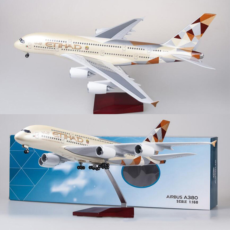 1/160 Scale 50.5CM Airplane Airbus A380 ETIHAD Airline Model W Light and Wheel Diecast Plastic Resin Plane For Collection image
