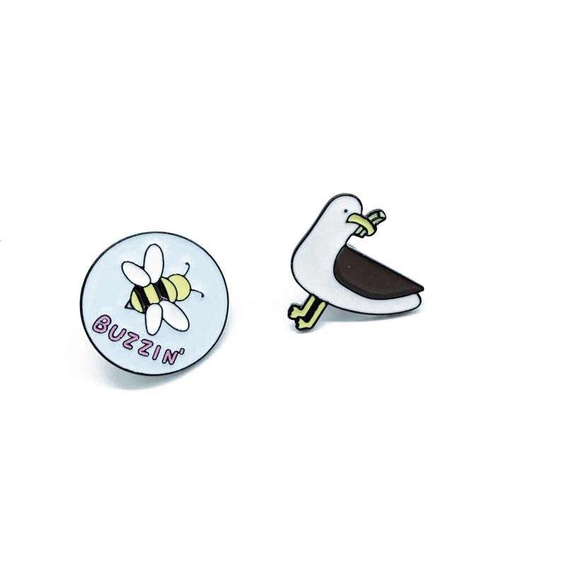 Baru Bebek Bros Makan Serangga Pekerja Keras Bee Bulat Bros Anak Lucu Kartun Bros Hadiah Ransel Pakaian Liontin Perhiasan