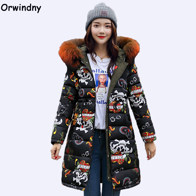 Orwindny New Fashion Two Sides Can Wear Winter Jacket Women Printing Long Clothing Down Cotton Coat Plus Size 3XL Winter   Parkas