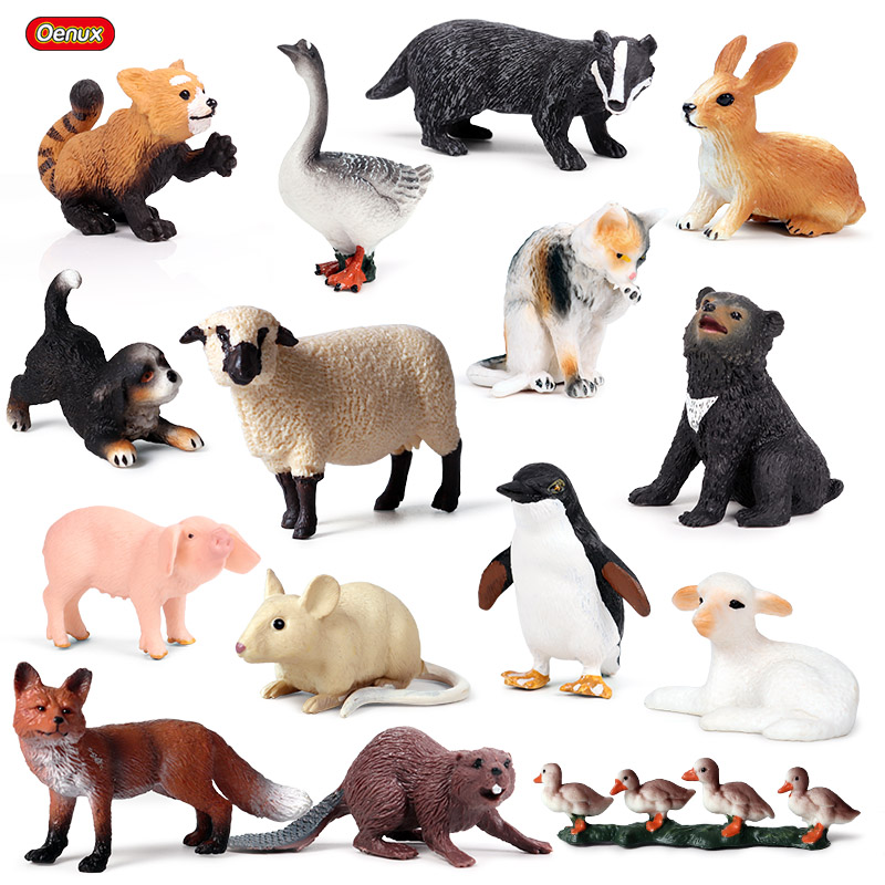 Candid Oenux Lovely Farm Poultry Duck Pig Alpaca Dog Cat Animals Model Action Figures Wild Bird Parrot Figurine Pvc Miniature Kids Toy Traveling