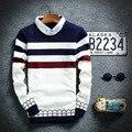 2016 los nuevos Hombres suéter cuello de la camisa de cuello alto de la raya de dos suéteres suéter