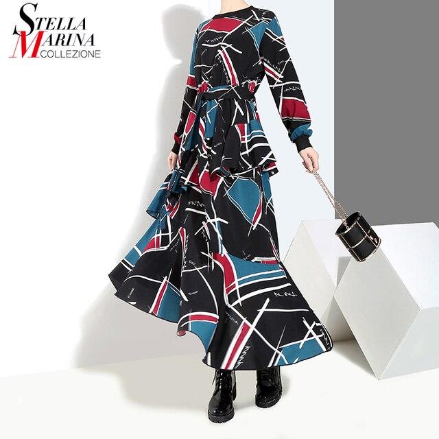 2018 Stile Coreano Delle Donne di Inverno Abito Lungo Blu Fiocchi e Fasce  Geometrica del Modello Stampato pantaloni di Lunghezza Della Caviglia  Ragazze Alla ... 8fff90d880f