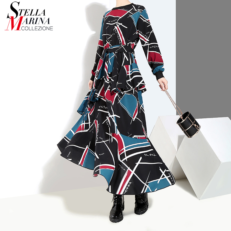 2019 Korean Style Women Long Blue Dress Sashes Geometrical Pattern Printed Ankle Length Girls Stylish Party Dresses Vestido 3906