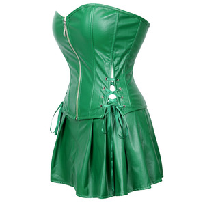 Image 2 - Сексуальное женское платье корсет из искусственной кожи, корсет бюстье с мини юбкой, ядовитый костюм с узором плюща, зеленого размера плюс, для женщин