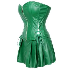 Image 2 - Sexy espartilho vestido feminino de couro falso overbust espartilho bustier com mini saia veneno ivy traje verde plus size S 6XL