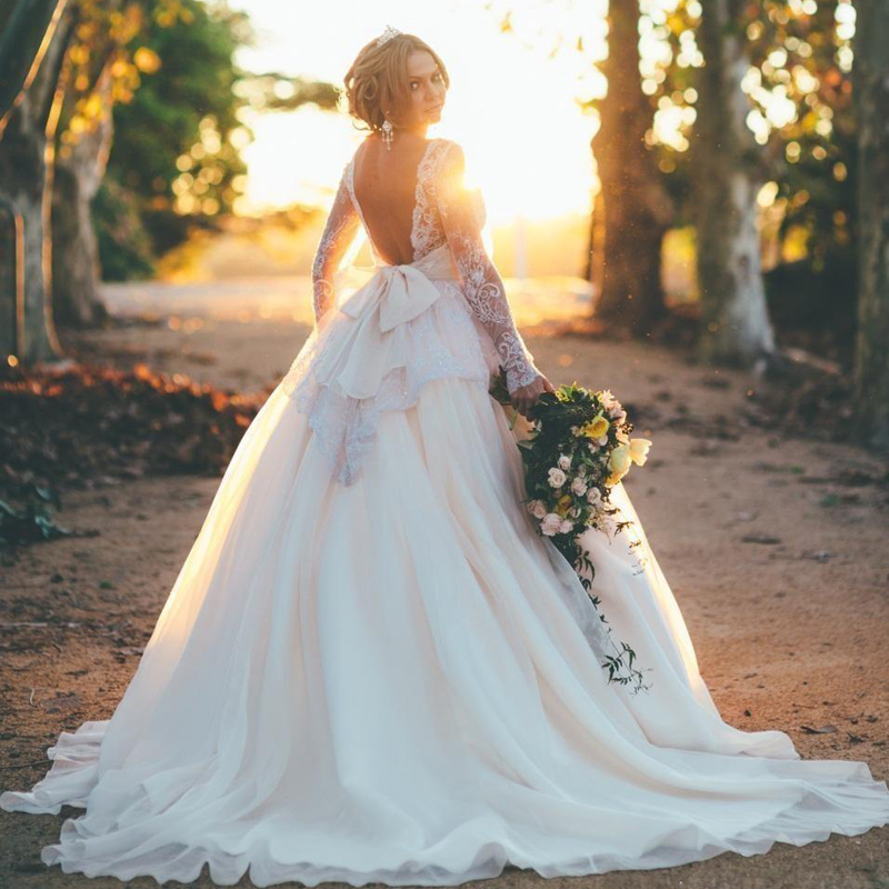 Fantastic Long Sleeve Wedding Dress with Open Back Ball Gown Knot ...