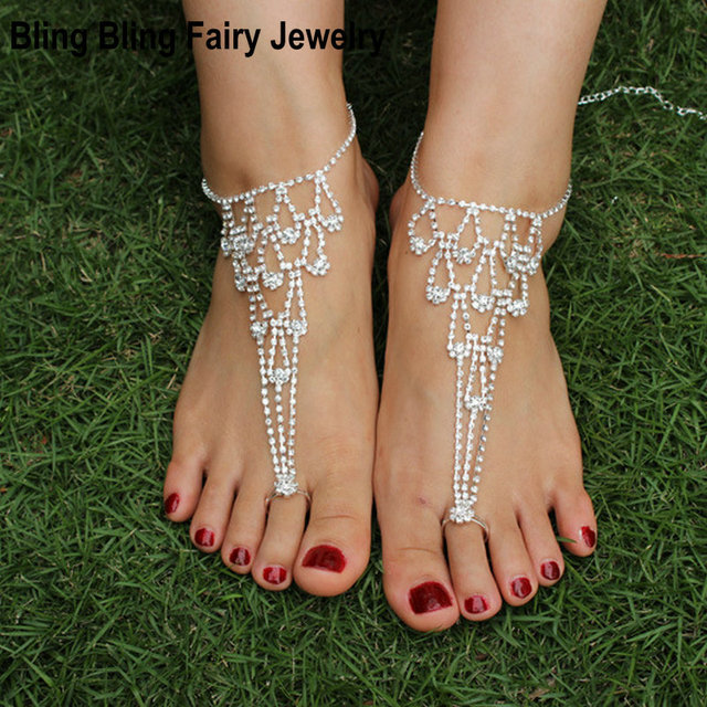Hot Fashion Women Crystal Barefoot Sandals Beach Wedding Foot Anklet ... dd79c016a9cd