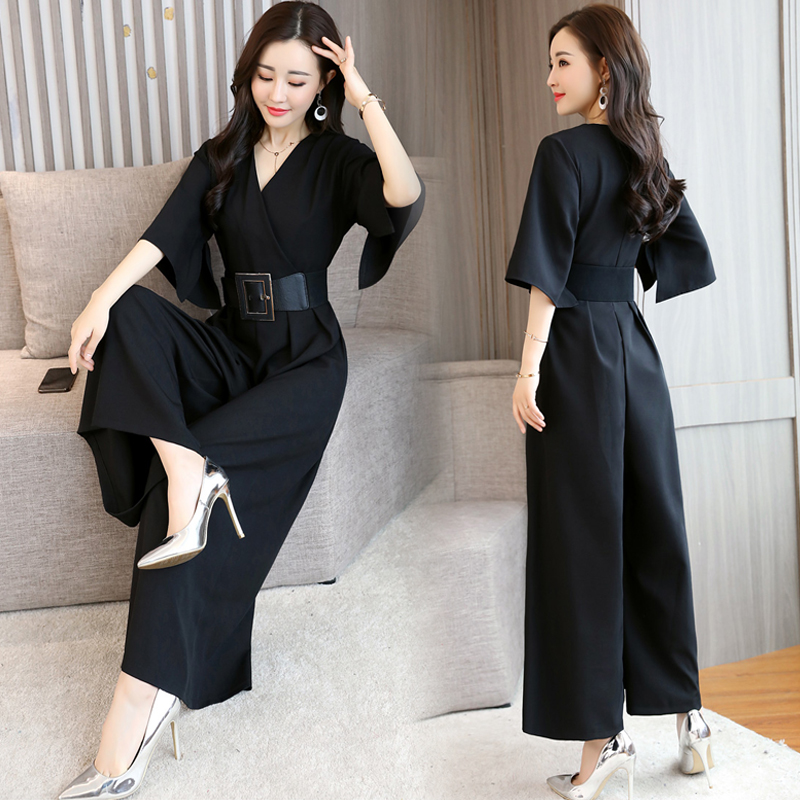 Summer Chiffon   Jumpsuits   Loose One Piece Pants Office Lady Combinaison Femme Sashes Wide Leg Pants O Palazzo Pants Overalls