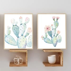 Nordic Art Print Pastel Watercolor Cactus Canvas Painting Poster Botanical Wall Art Pictures For Living Room Home Decor No Frame
