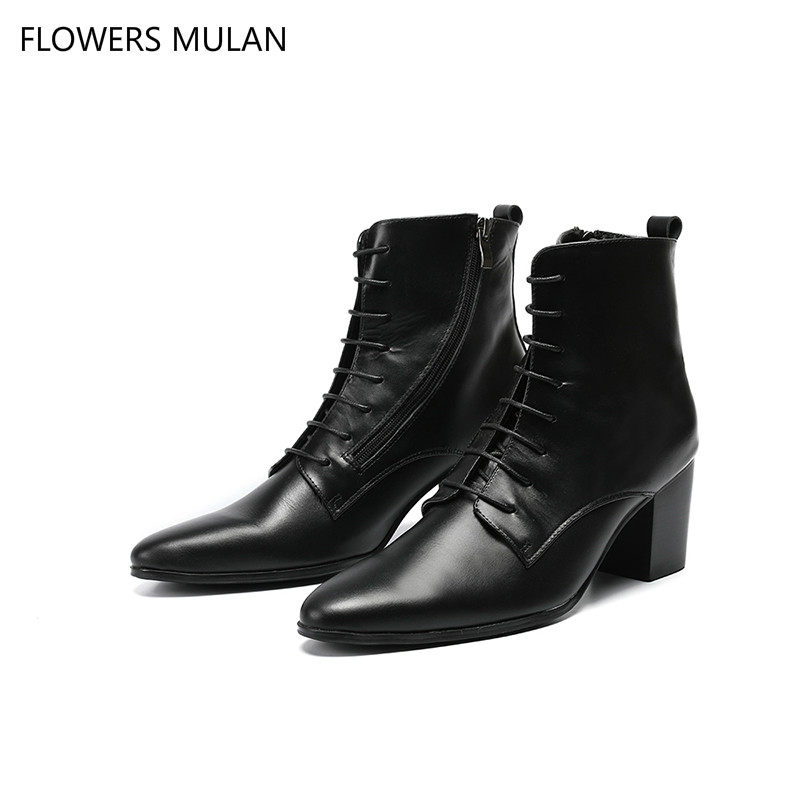 Mens shoes high heels botas militares plus size black genuine leather boots men lace up rain high top ankle chelsea boots 2018 цена 2017