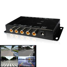 IR control 4 Cameras Video Control Car font b Camera b font Image Switch Combiner Box