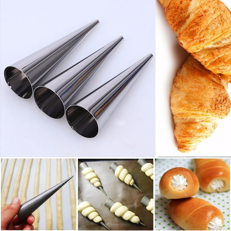 baking supplies 5pcs diy baking cones stainless steel spiral baked croissants tubes horn pastry roll cake mold bakeware