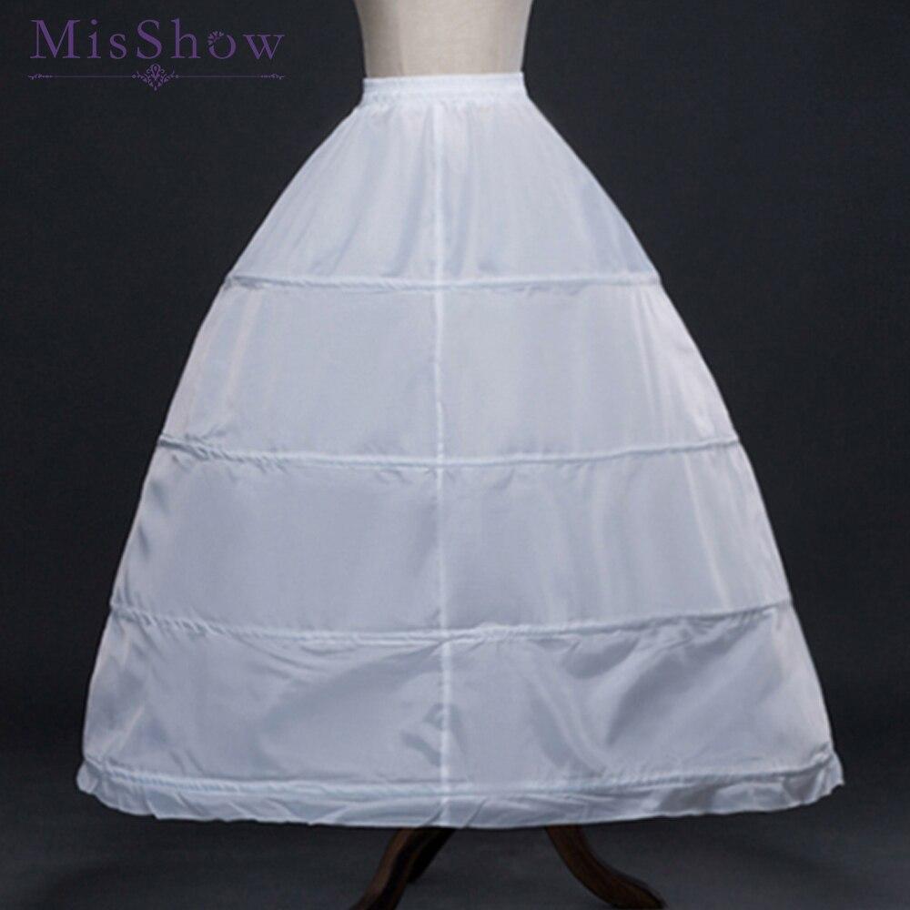 2019 White 4 Hoops Ball Gown Petticoat Wedding Accessories Bride Crinoline Cheap Long Underskirt Velos De Novia Voile De Mariee