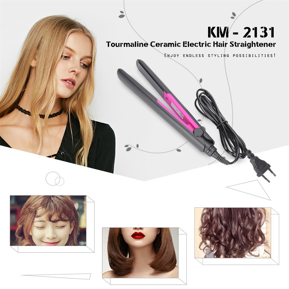 Kemei KM-2131 Electronic Ceramic Fast Hair Straightener Portable Mini Hair Flat Iron Dryer Straightening Irons Professional kemei km 173 led adjustable temperature ceramic electric tube hair curler