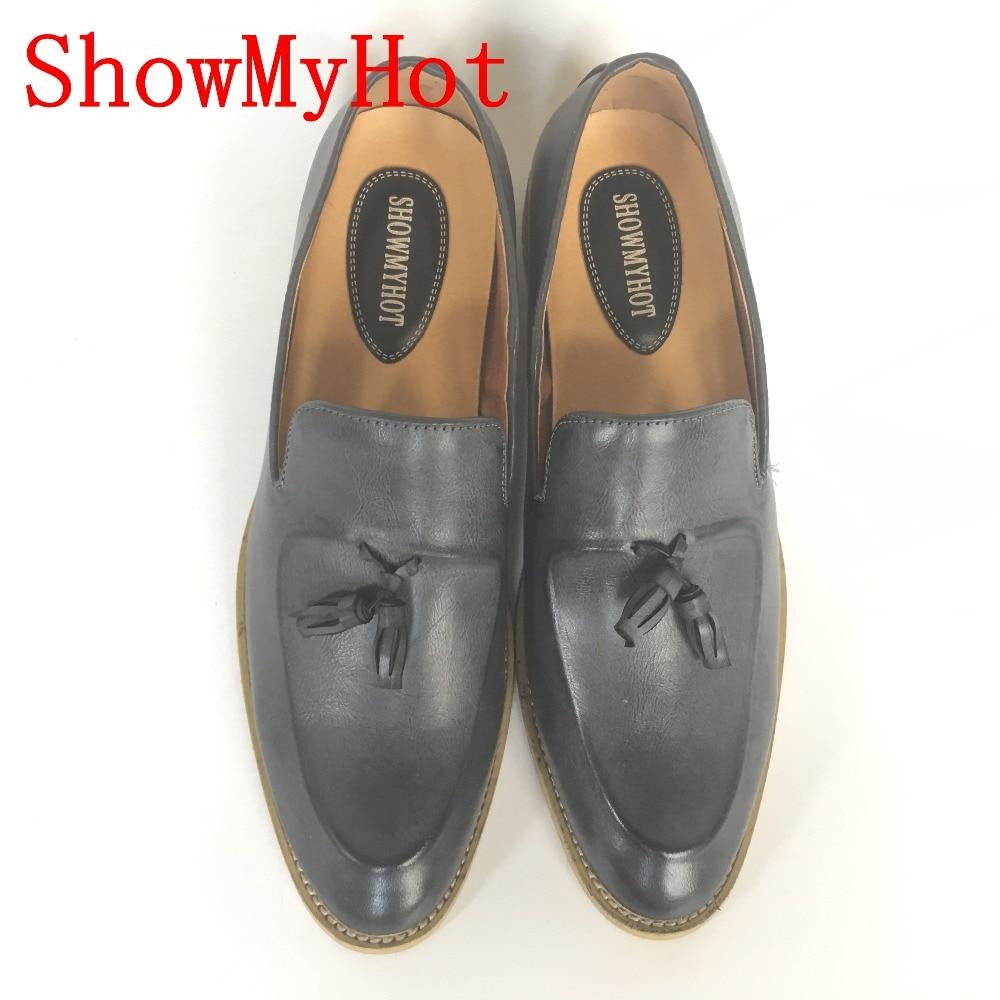 Vintage Showmyhot Sapatos Em Salto Dos Respirável Busines Britânicos Oxford cinza Borla Mocassins Deslizamento Preto Liso Brogues marrom Homens Do w4x4FAqXr