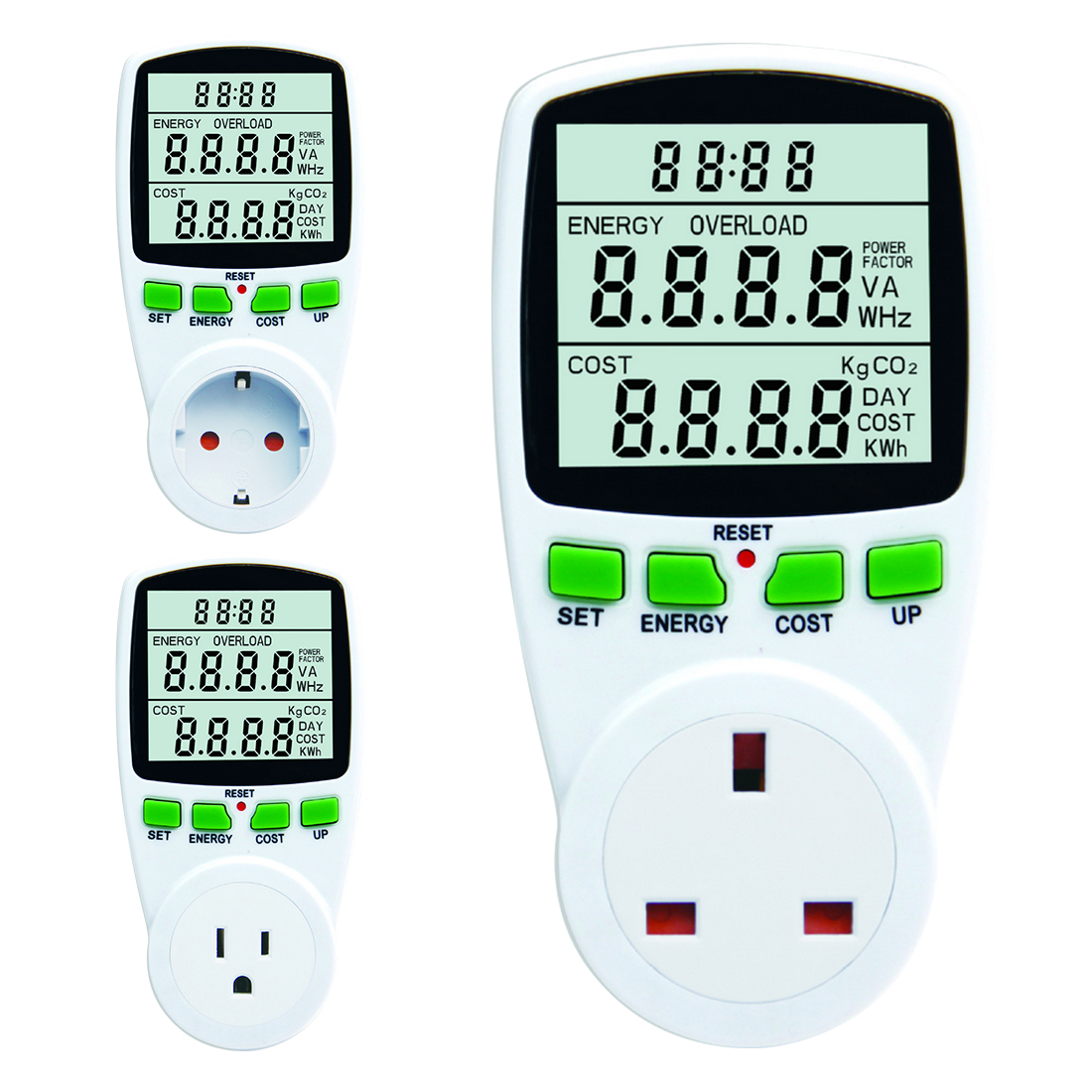 UK/US/EU Plug Consumption Measuring Socket Digital Wattmet Power Meter Electronic Energy Meter Voltage Wattmeter Power Analyzer