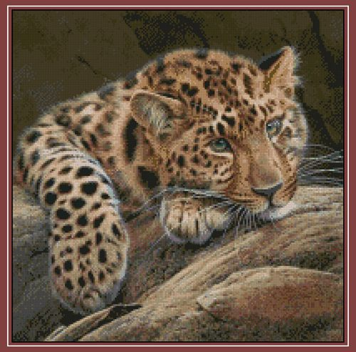 Top Quality 14CT Counted Unprinted Cross Stitch Kits Set Needlework For Embroidery Decor Arts Handmade The Stone Leopard Animal