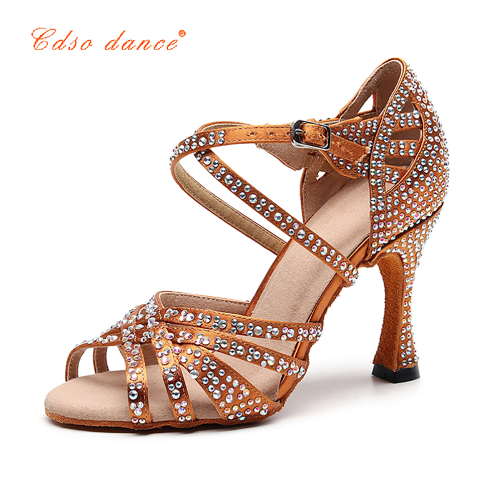 Dance-Shoes Salsa Rhinestones Latin Outsole Bronze High-Heeled Women's Soft Party Female