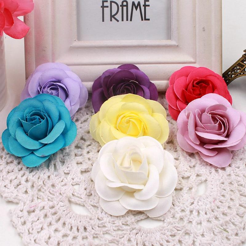 10pcs high quality artificial flower silk rose handmade flower head wedding decoration DIY wreath hat dress clip accessories