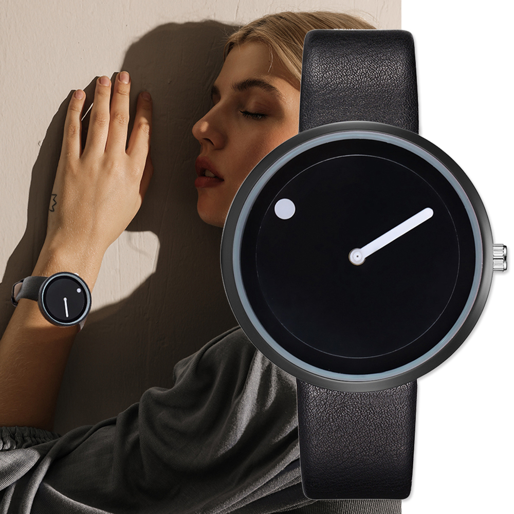 Minimalist Style Leather Wristwatches Women Men Creative Black White Design Dot & Line Simple Face Quartz Watches Gift Clock
