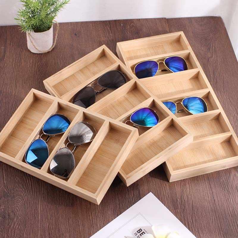 HUNYOO 4/5/6-Tiers Bambus Sonnenbrille Display Holz Vertikale Brillen Organizer Gläser Display-ständer Schaufenster Brillen halter