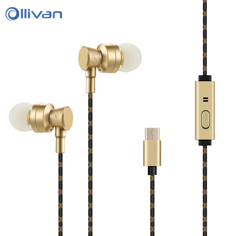 Ollivan USB Type c Earphone with Microphone Stereo Headsets Type C Earphones for Letv LeEco Le 2 Pro Max 2 for Xiaomi mi6 Phones luanke pc case for leeco le max 2